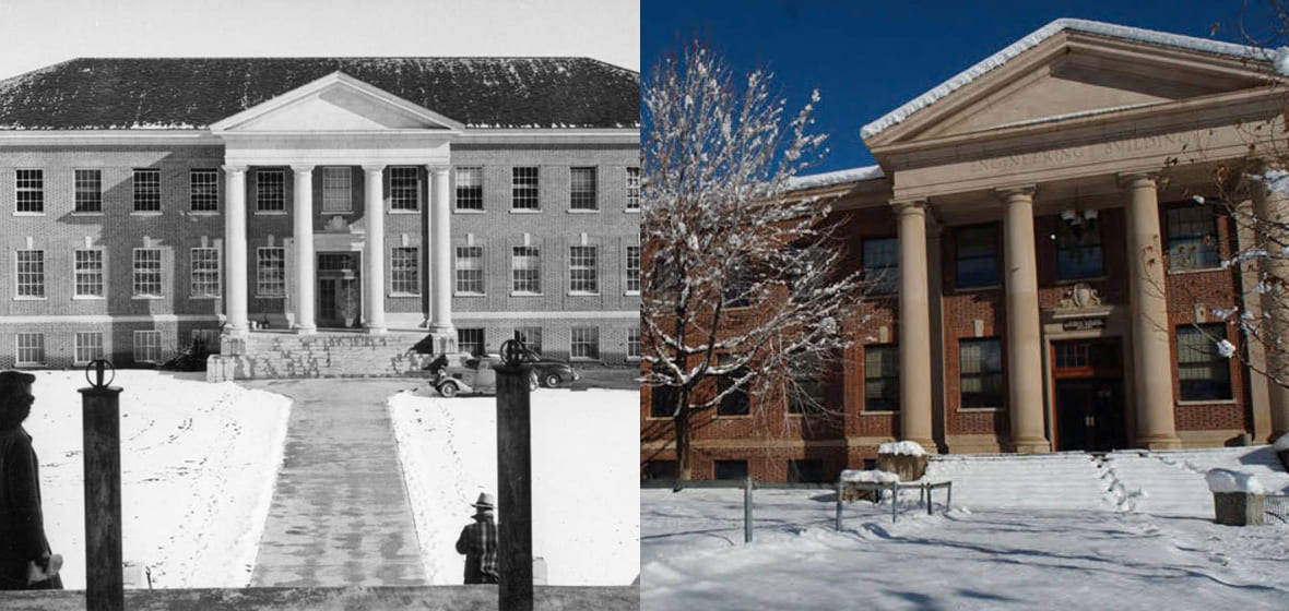 Palmer Engineering in the snow in 1950 and 2005