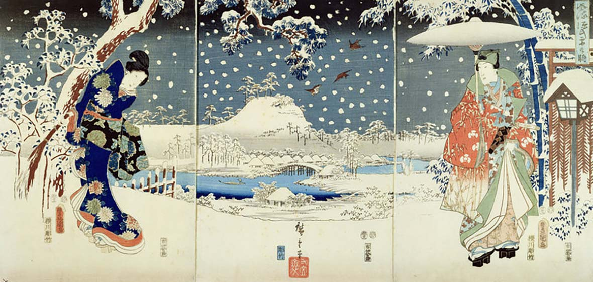 Tale of Genji: Snow Scene by Toyokuni and Hiroshige from 1853