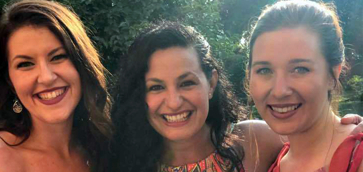 From left to right, Stacy Russell, Olga Perez Flora and Cami Cutler in Italy last summer  intensive voice lessons.