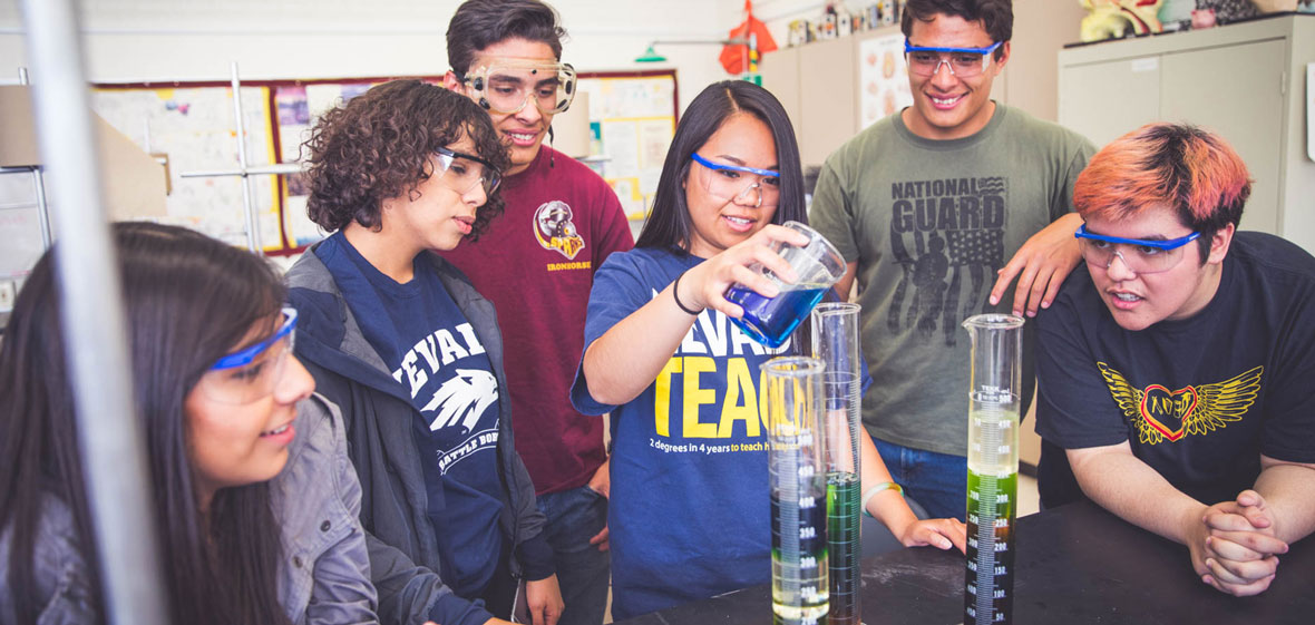 NevadaTeach student with Sparks High School Students