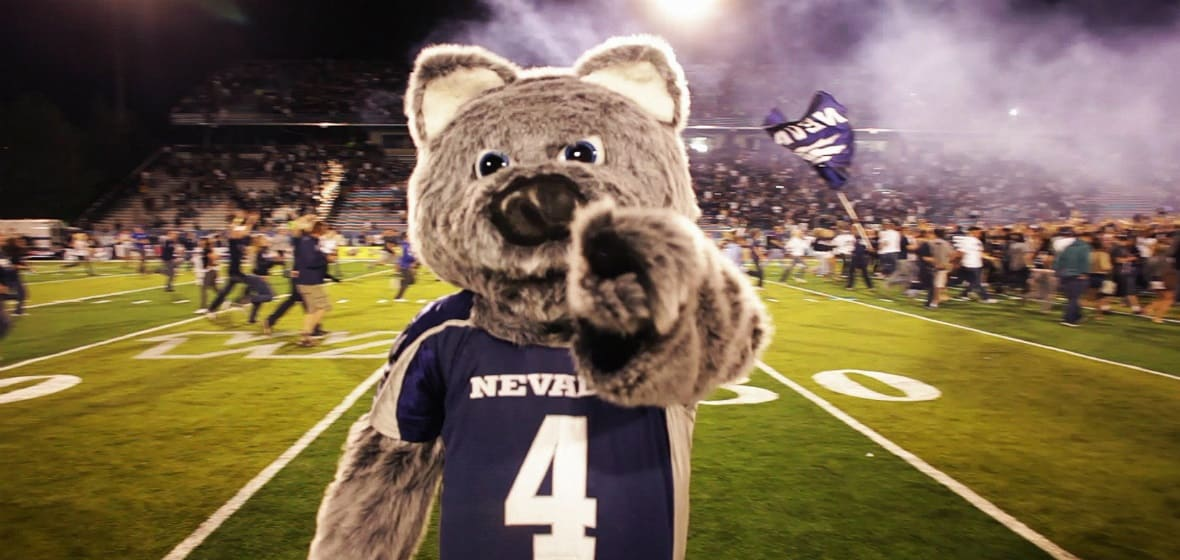 Alphie points towards the camera while standing on the field in Mackay Stadium