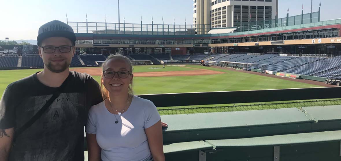 German exchange students Gelard and Holzer attended their first baseball game at the Greater Nevada Field in Reno