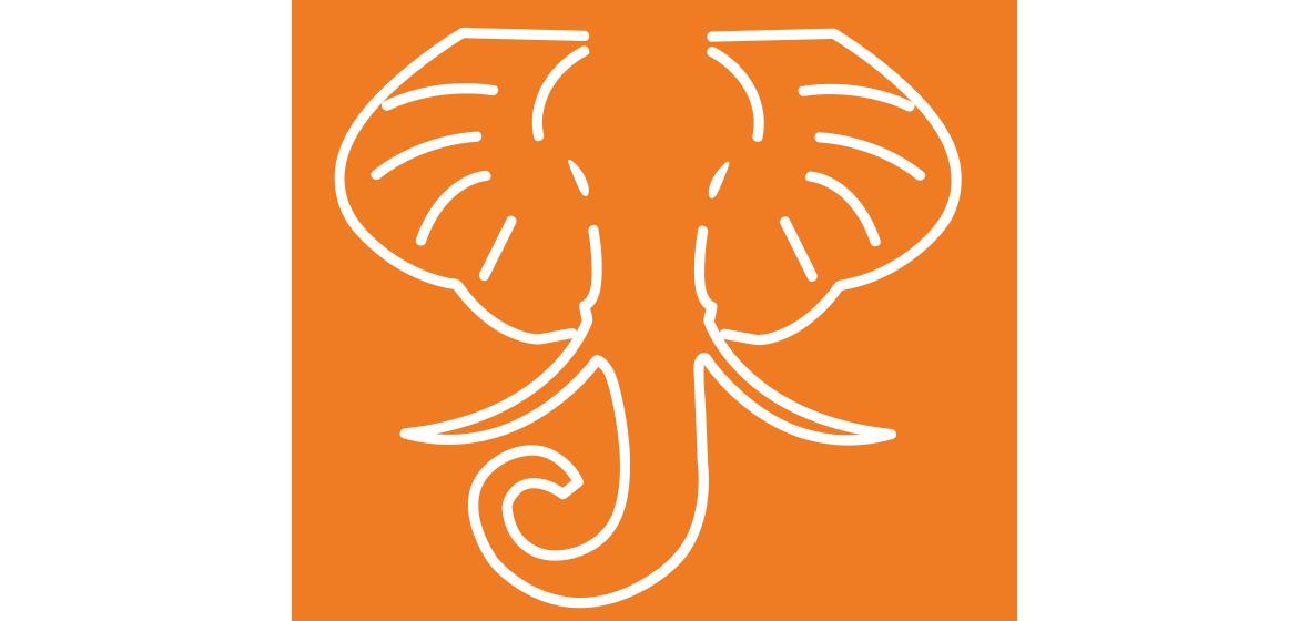 HathiTrust logo white elephant head outlined in white on an orange background