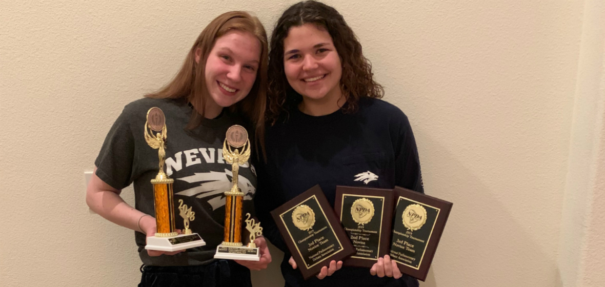Jordan and Savannah with several of their awards from the season.