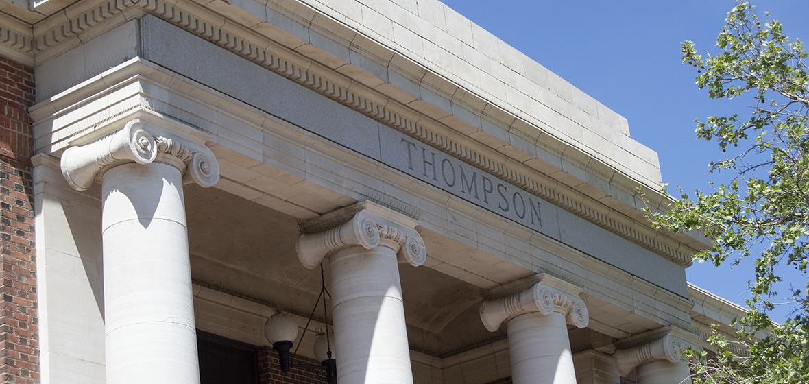 Front of Thompson Building with pillars