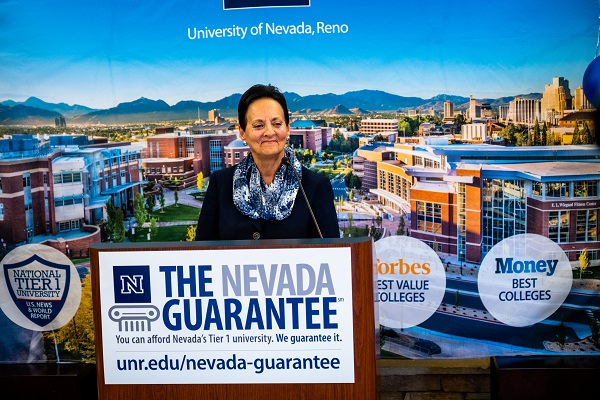 Melisa Choroszy speaks at the Nevada Guarantee press event