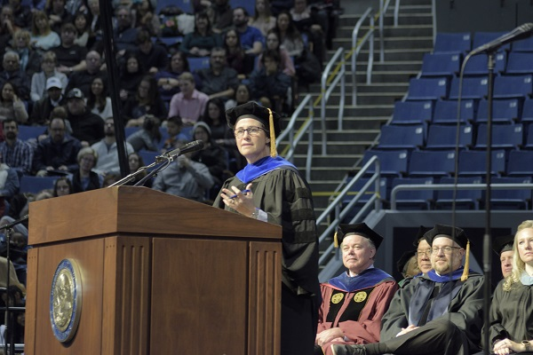 Lidia Stiglich speaking at the 2019 Winter Commencement