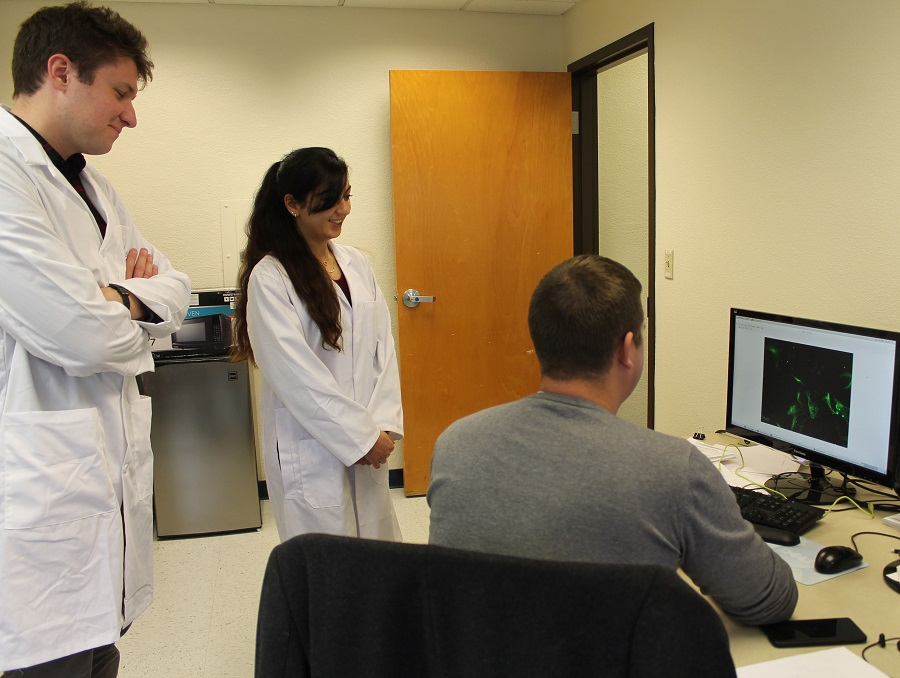 Three students looking at a computer while doing research in the lab.