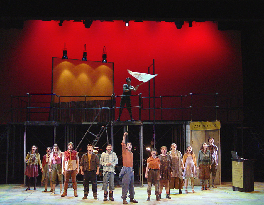 The cast of Urinetown performs