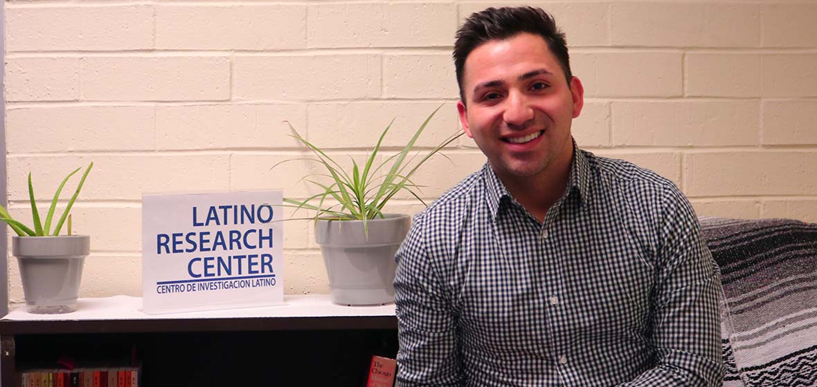 Diego Zarazua sits in the Latino Research Center