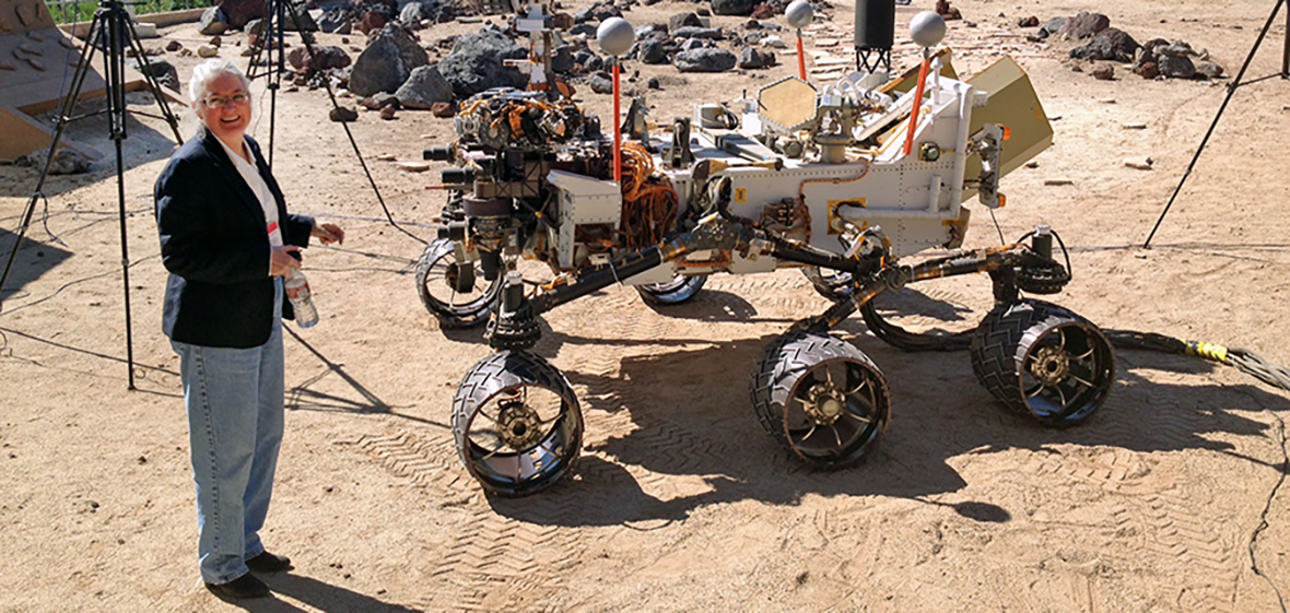 Wendy Calvin with Mars Rover