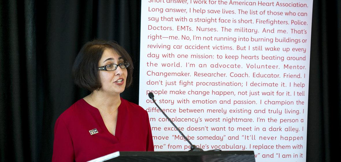 Dr. Neda Etezadi-Amoli speaking about heart health