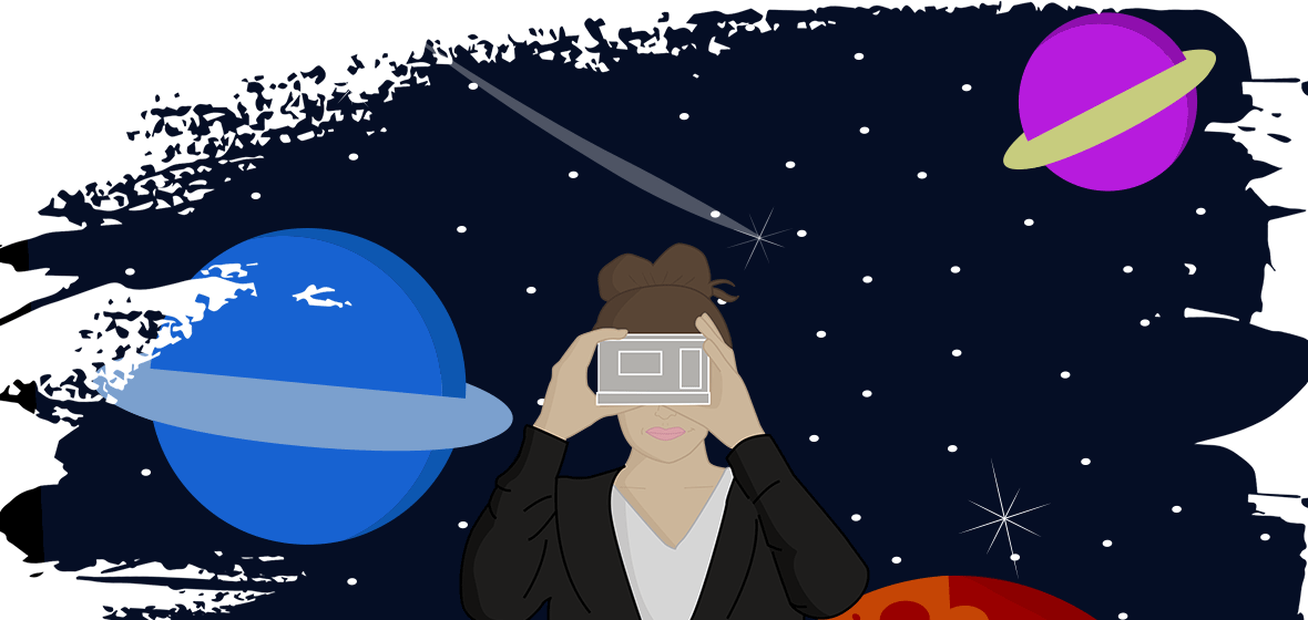 Student holds VR viewer to her face with a space scene behind her.