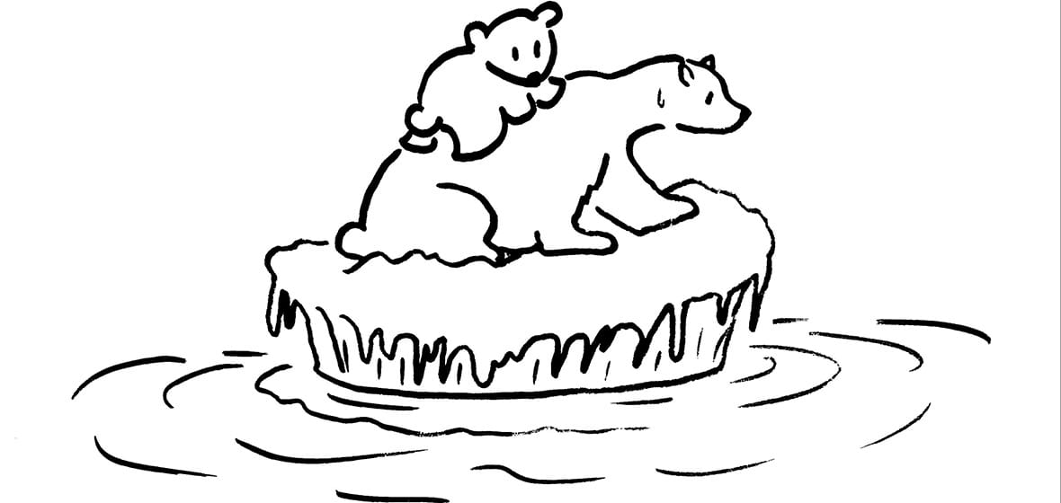 Two polar bears on a small piece of ice.