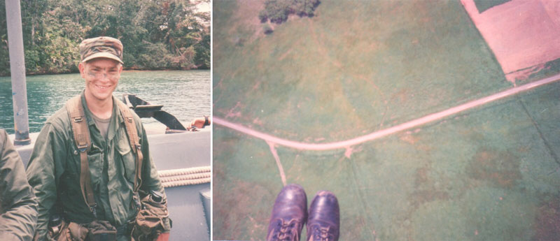 Two old photos, left photo: Young Ken Nussear is dressed in an army uniform on a boat in a river in Panama. Image right: aerial first-person perspective of army boots far above fields of agriculture