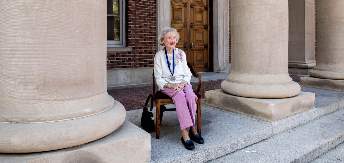 Margery McKnight Carr infront of Mackay Mines building