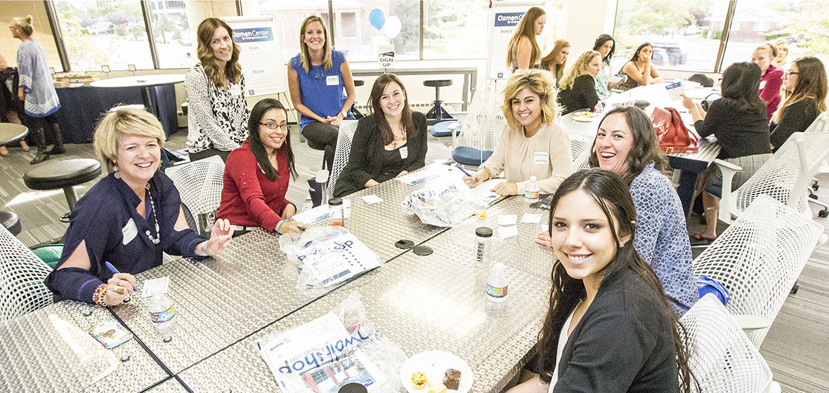 Female entrepreneurs sit around a table at the Innevation Center