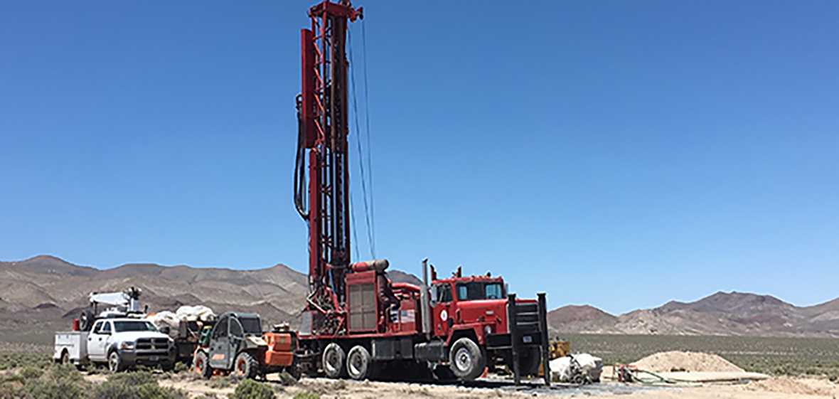Drilling rig on the Play Fairway project. Drill is extended vertically from the truck