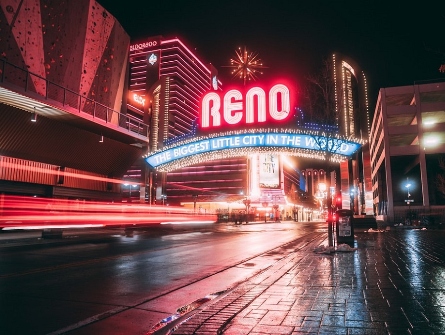 The Reno Arch downtown lit up at night