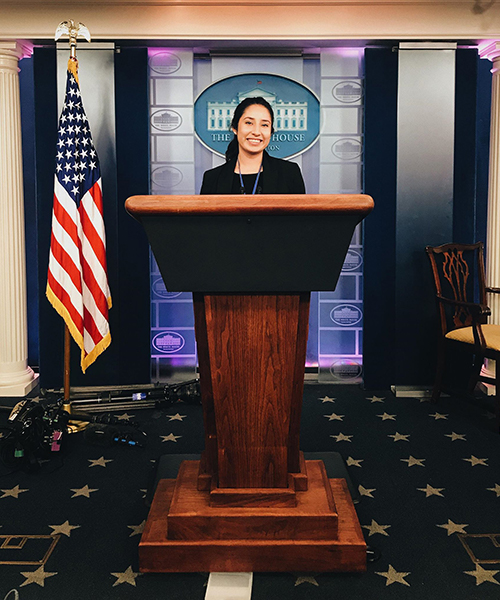 A student stands at the podium in the White House press room.