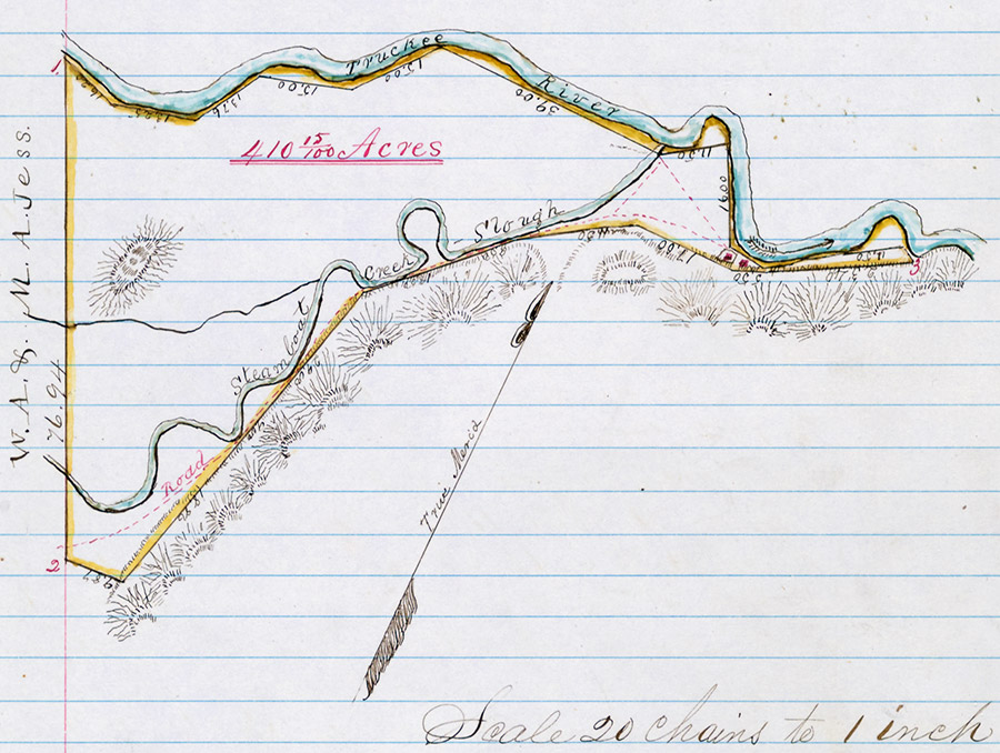 A hand-drawn plat of a survey on lined paper that contains a colored sketch of the Truckee River and Steamboat Creek - Slough in 410 15/100 acres.