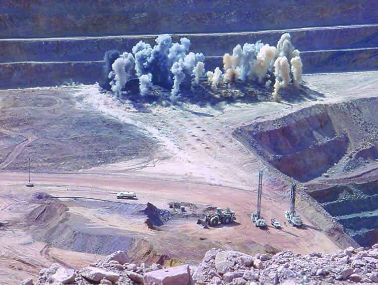 A blast outside of a mine.