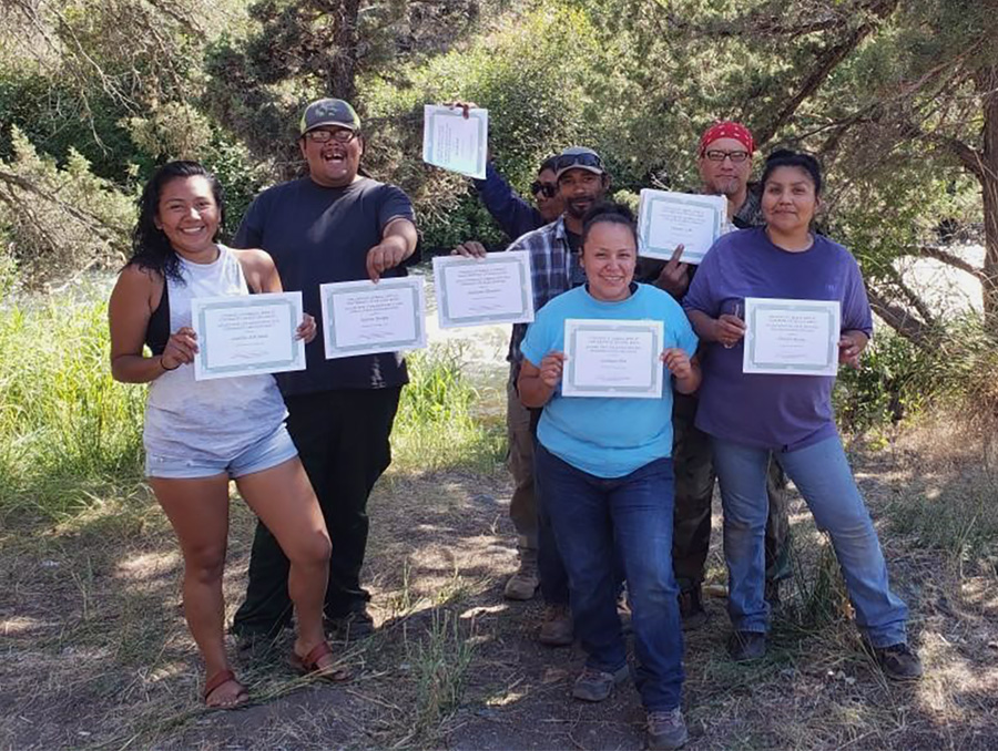 "Seven undergraduate students from Paiute, Shoshone and Washoe tribes graduated from the field school and were awarded a ""College of Liberal Arts at University of Nevada, Reno, Award for Collaborative and Indigenous Archaeology."""