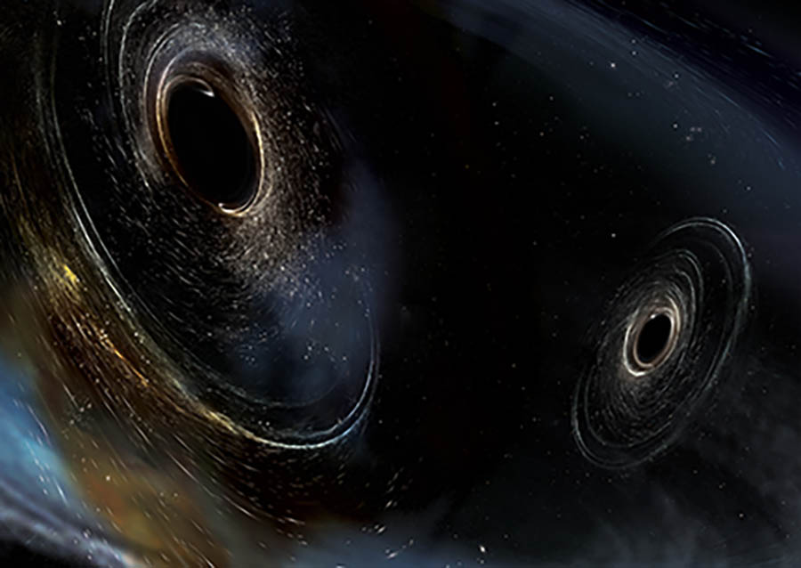 An artist's conception showing two merging black holes.