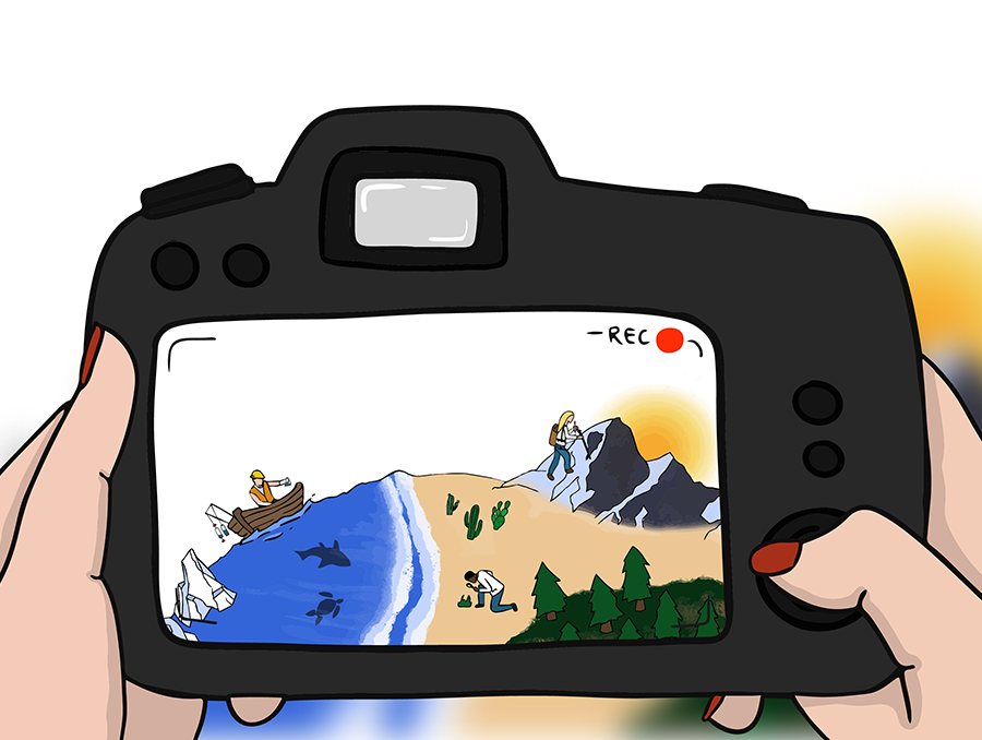 Woman holding a camera taking a photo of people on water and land