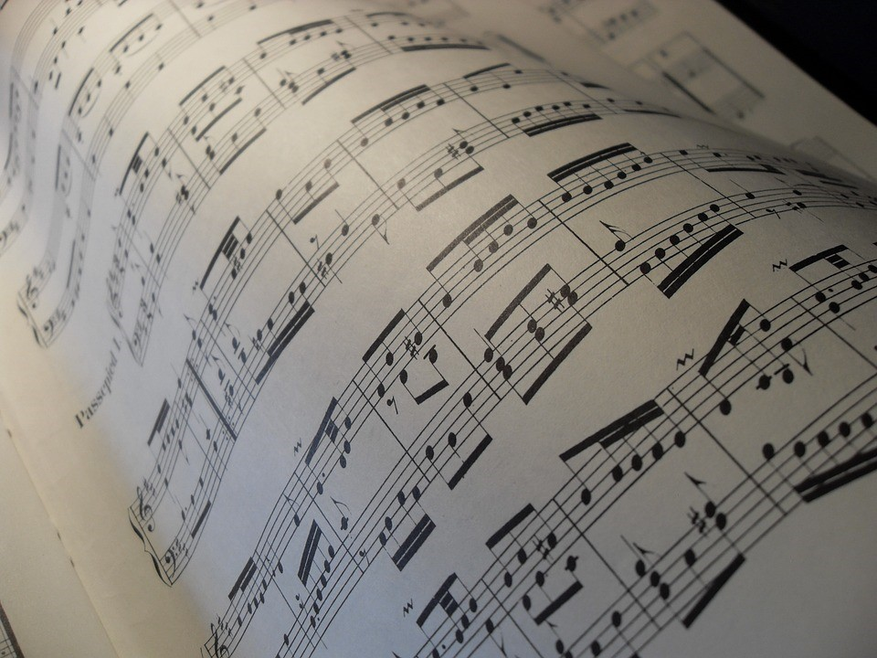 a sheet of musical scores