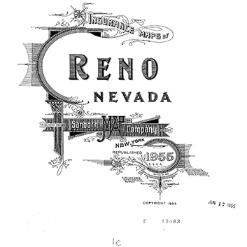 A black and white logo of the 1955 republished Insurance Maps of Reno, Nevada from the New York Sanborn Map Company.