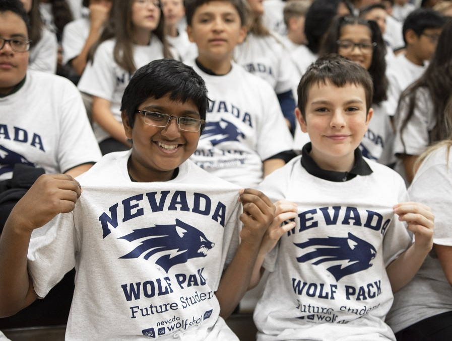 Two Clayton Students show off their new Nevada Wolf Pack Future Students Shirts