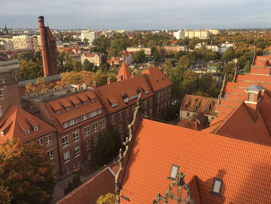 A picture of historic buildings in Gdansk, Poland from above