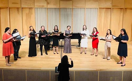 Grace Desilets performing at her senior recital last month. Pictured (left to right): Gabrielle Staples, Lillian Salter, Lauren Caesar, Abigail Rosen, Taytem Mccluney, Grace Desilets, Adalynn Colton, Julia Parks, Adriana Bravo and Kimberly Li.