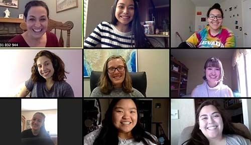 Desilets attending virtual voice studio class. Pictured Top: Dr. Olga Flora, Adriana Bravo, Gabrielle Staples. Middle: Desilets, Adalynn Colton, Kaspar Young. Bottom: Taytem Mccluney, Kimberly Li, Lillian Salter.
