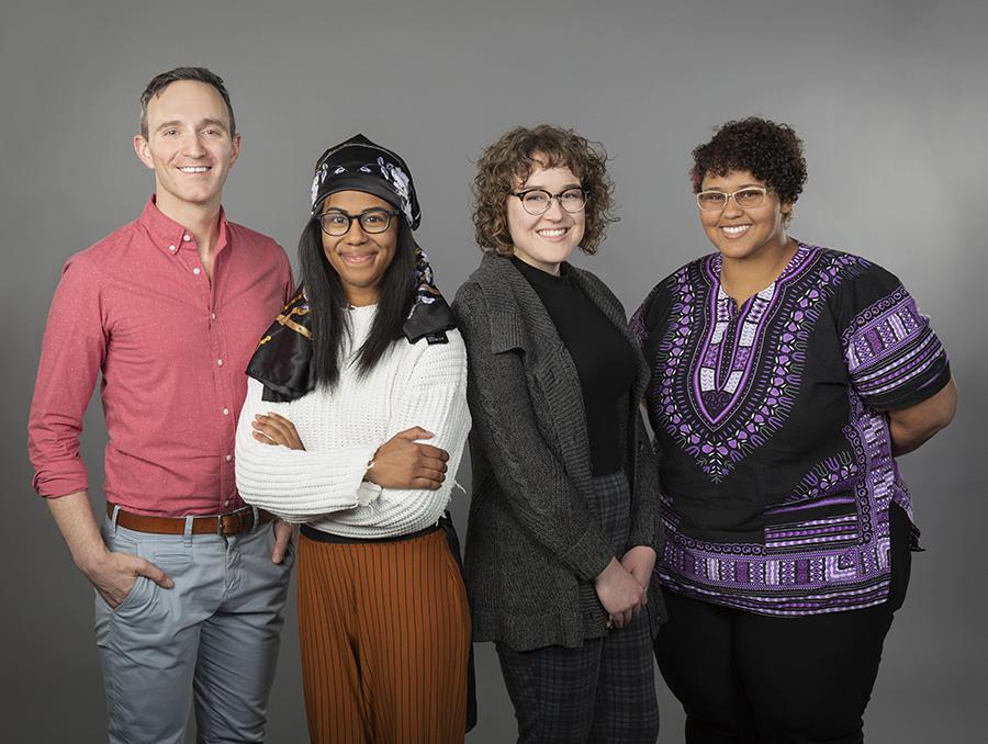 Jason Fisette with students Jaylin Hendricks, Sydney Banks and Prism Zephyr