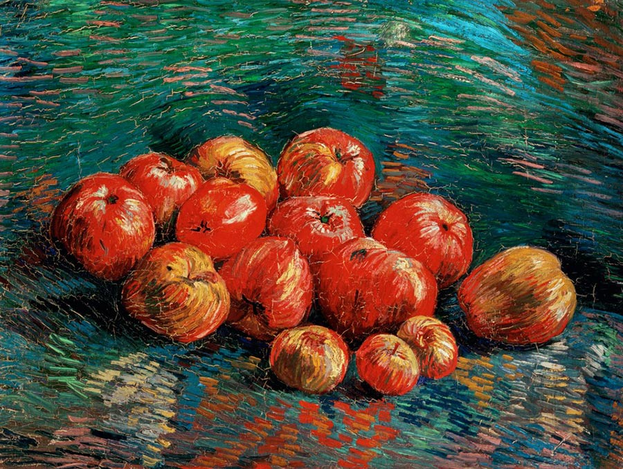 A painting of vibrant apples by Vincent Van Gogh.