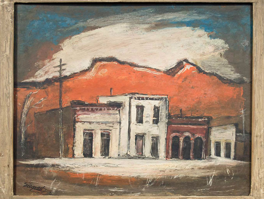 Oil painting in wooden frame of old buildings on a street