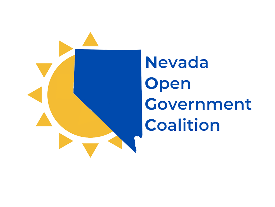 Nevada Open Government Coalition logo, which features an illustration of the sun peaking out from the left side of a the state of Nevada