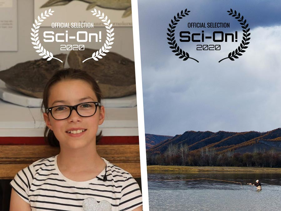 Split screen showing screen grab of a young girl (left) and a man flyfishing (right) both with Sci-On Official Selection laurels overlain on the images.