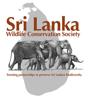 The Sri Lanka Wildlife Conservation Society logo pictured with a herd of elephants in front of the country Sri Lanka with the words forming partnerships to preserve Sri Lanka's biodiversity