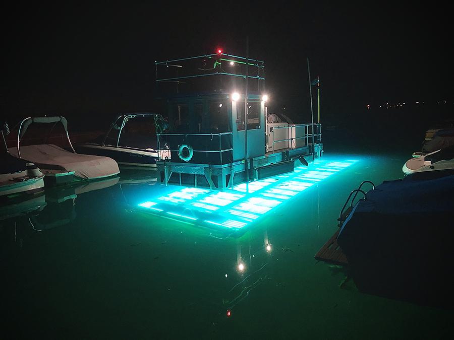UV Vessel works at night to kill invasive aquatic plants