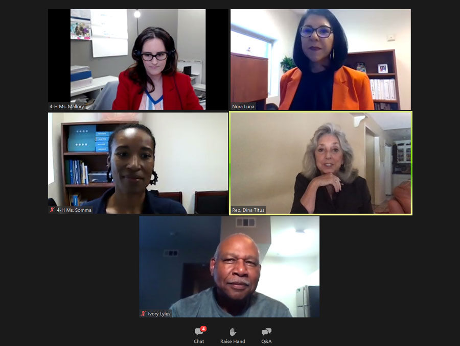 Screenshot of zoom workshop with Congresswoman Dina Titus and Extension's Mallory Levins, Nora Luna, Sarah Monique Somma and Ivory Lyles