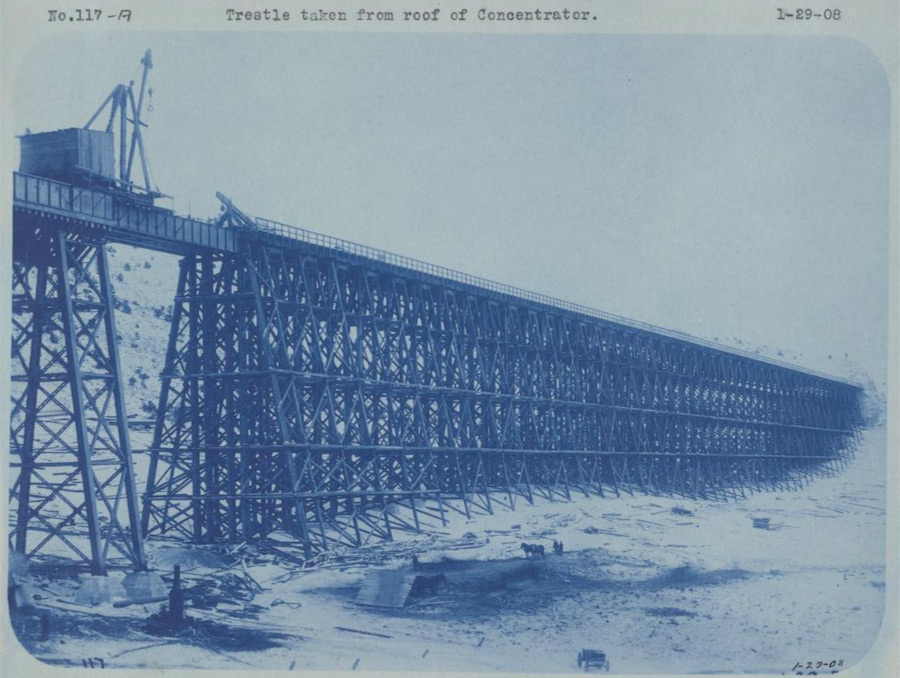 Image of trestle taken from roof of concentrator at the Consolidated Copper facility.