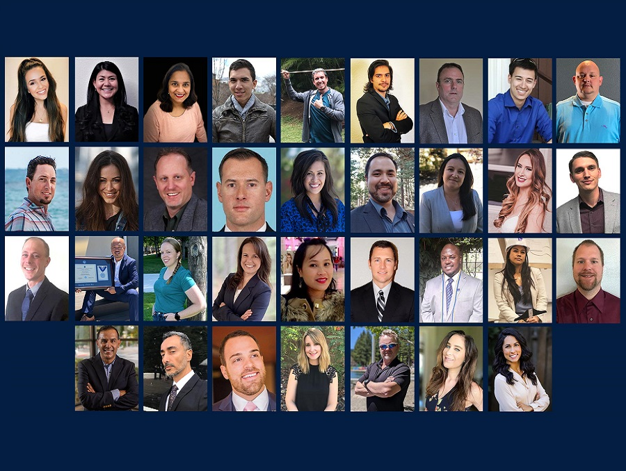 A photo grid with the head shots of the 34 EMBA graduates.