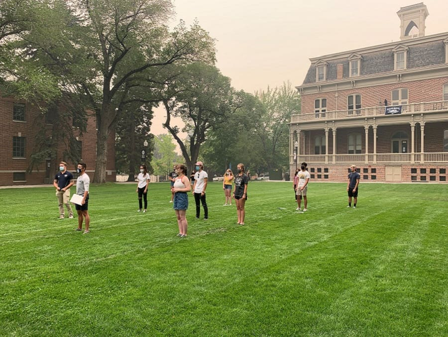 First-year students participating in a socially distanced event on the Quad