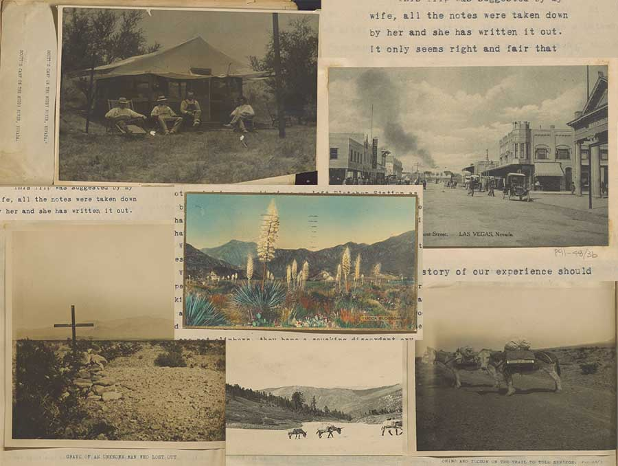 A collage of five images from the 1000 Miles of Desert and Mountain Diaries. Images included show four people sitting outside of a rustic tent; scenes from the landscape; a scene of a main street in Las Vegas; and an image of two burros wearing packs.