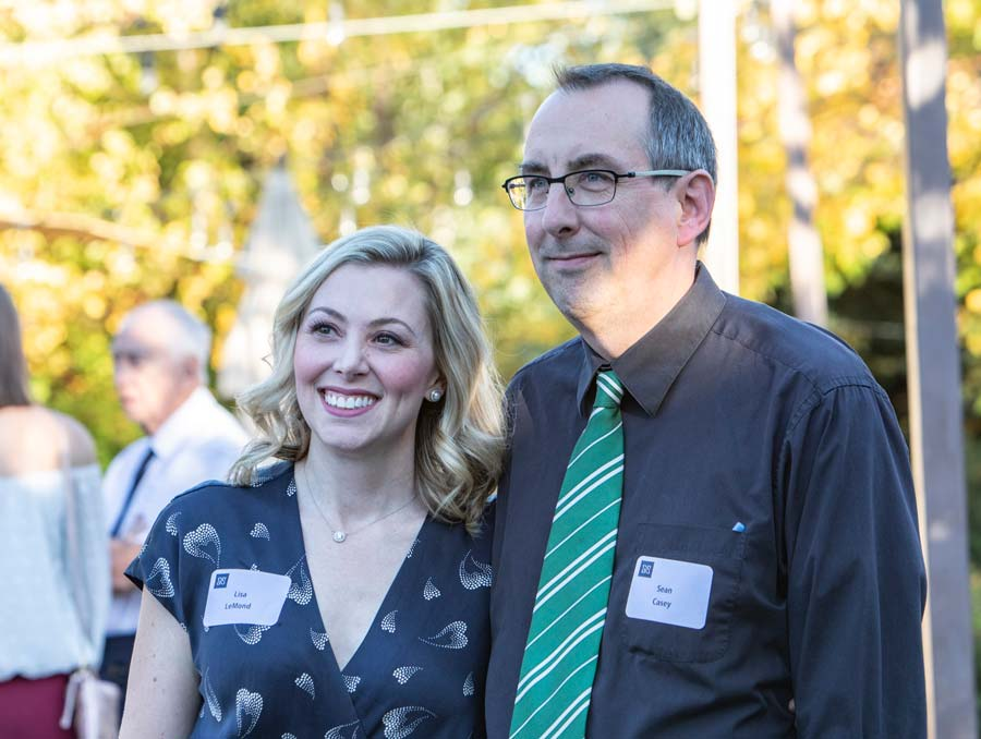 Sean Casey, pictured here with Lisa LeMond at the 2019 College of Science and Mackay School Distinguished Alumni of the Year event.