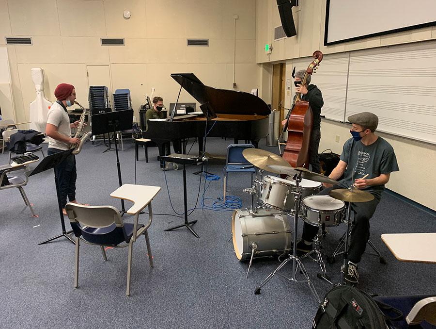 Halt's jazz combo class' socially distanced rehearsal