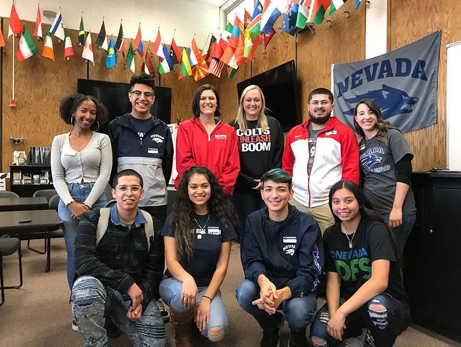 Ten Dean's Future Scholars mentors at Wooster High School in Reno.